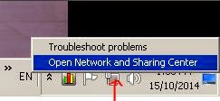 Open Network and sharing center from desktop