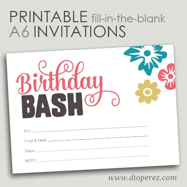 Birthday Bash blank invitations