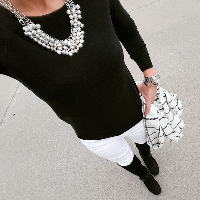 classic black and white casual outfit