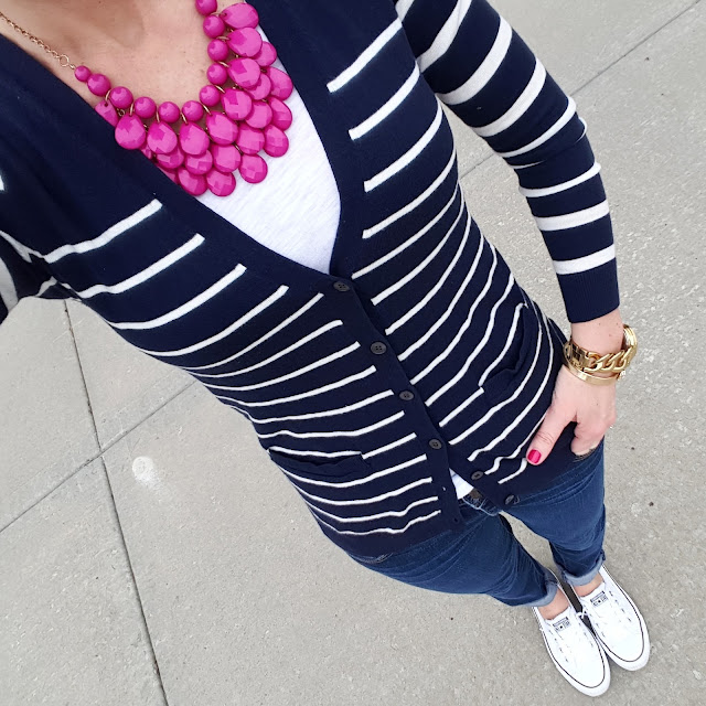 Gap Striped Cardigan (similar) // Forever 21 Tee - only $4 // American Eagle Jeans (sold out in regular length, still available in crops) // Converse Tennis Shoes // Michael Kors Runway Watch // Etsy Necklace