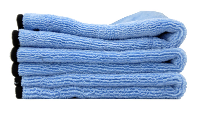 3 folded blue microfiber towels
