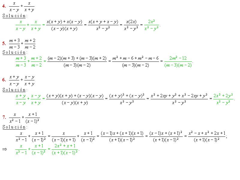 de fracciones. Suma de fracciones con denominadores compuestos. Baldor