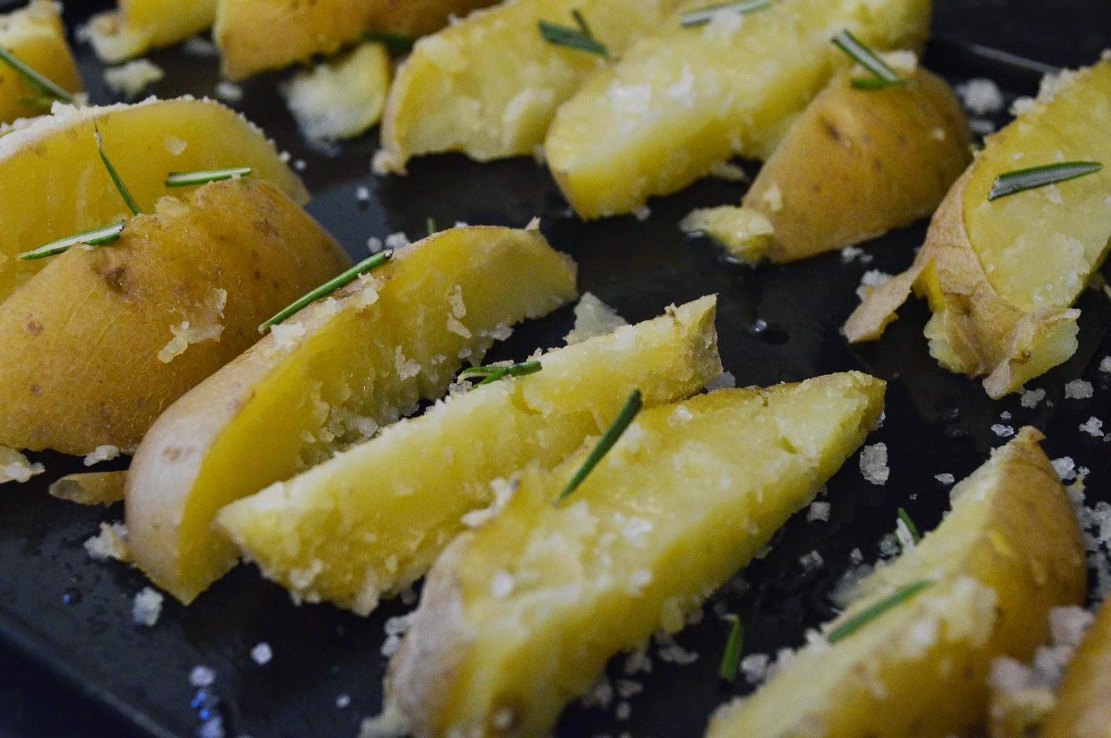 Fresh potato cut into wedges