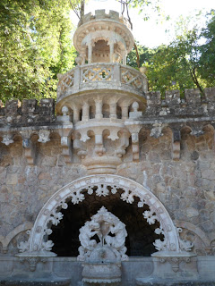 Fountain in the gardens of Quinta da Regaleira, Sintra Portugal