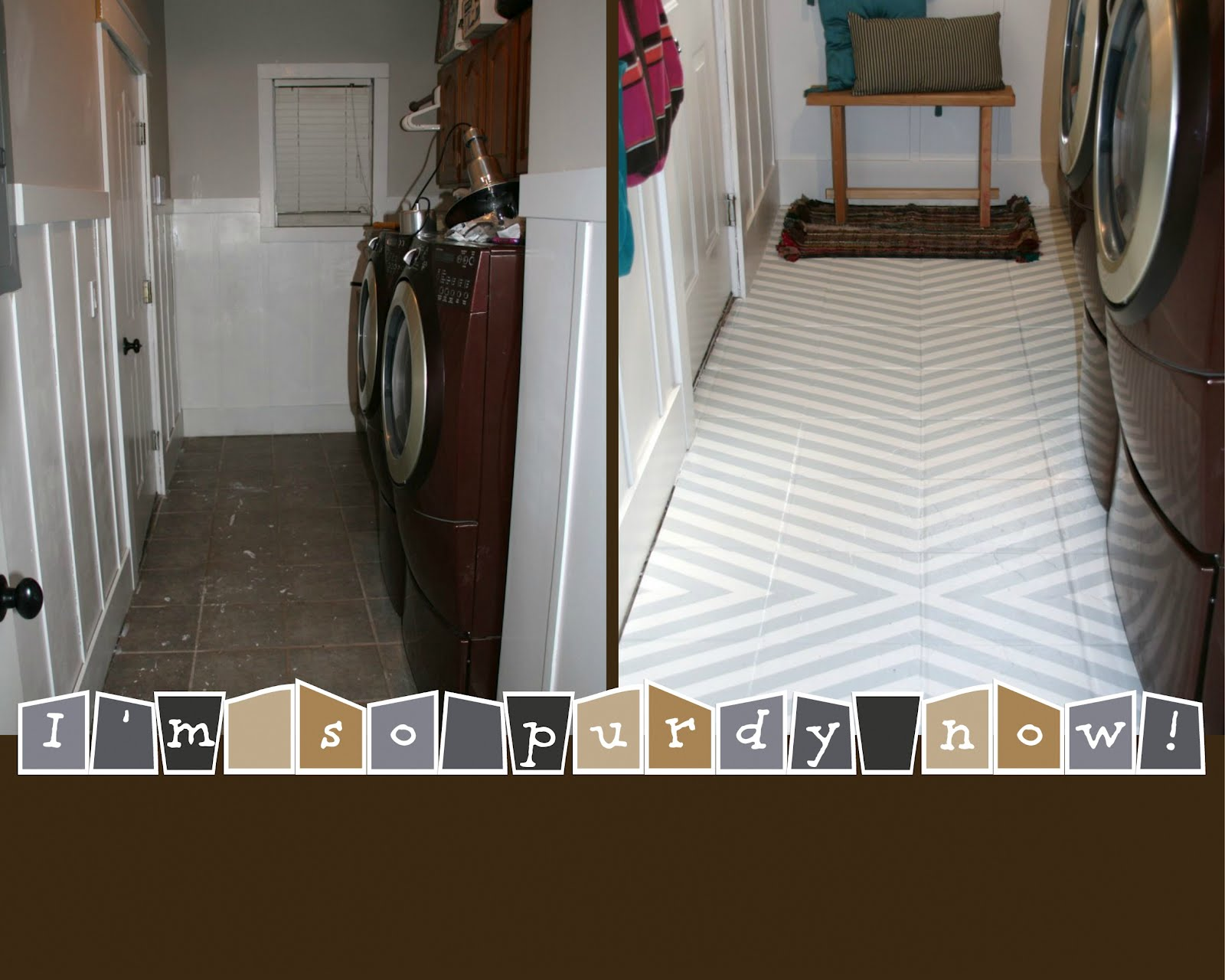 How to paint tile floors a tutorial love stitched not too shabby for a flippin awesome floor heres the breakdown gripper primer 23 2 gallons of behr brand epoxy paint dailygadgetfo Images