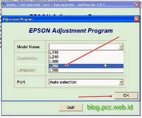 Resetter Epson L110, L210, L300, L350, L355