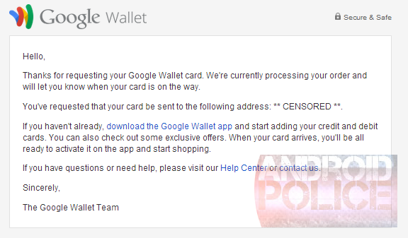 google wallet card physical