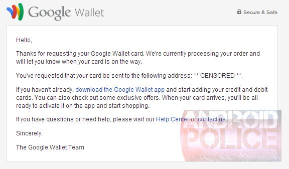 google wallet card physical