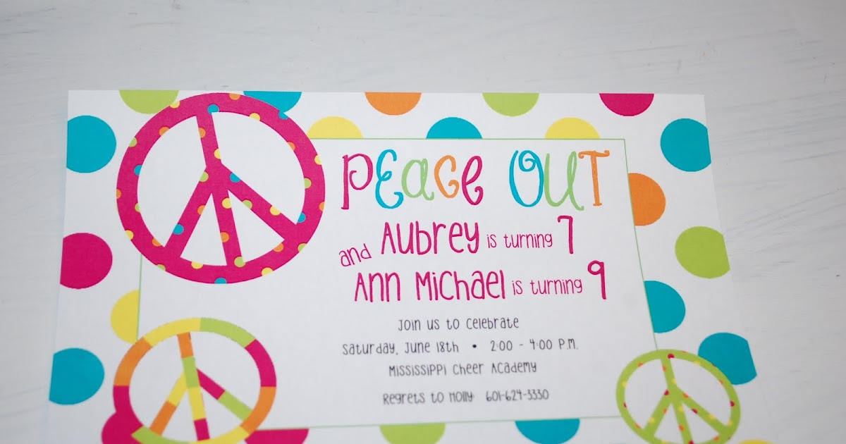 Baby Face Design: Peace sign birthday party invitations