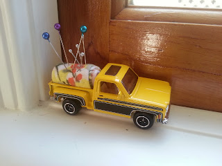 Toy car upcycled pincushion