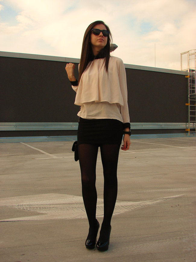 maya madanska from iheartmaya fashion blog wearing romwe pink peach vintage shirt blouse, pull and bear black bodycon skirt, asos black halo heels sandals