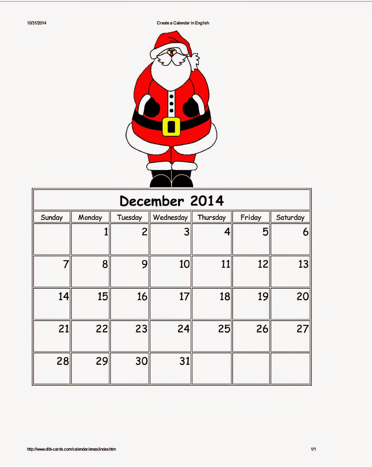 DLTK's Santa Holiday Calendar For December 2014