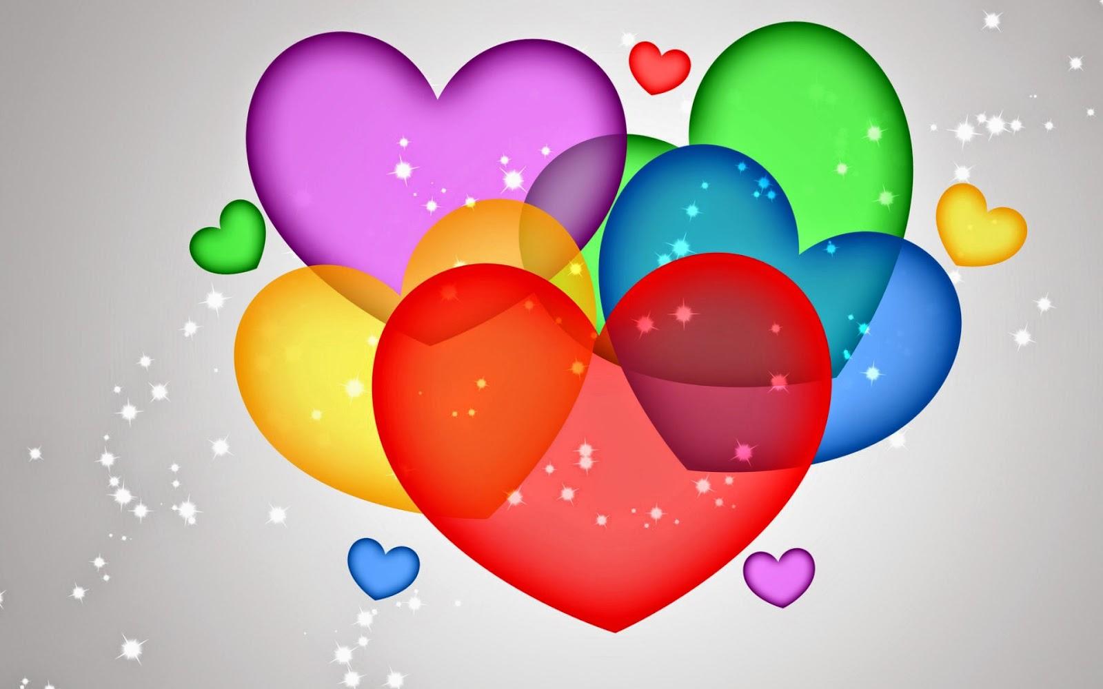 Liefde wallpaper met gekleurde hartjes