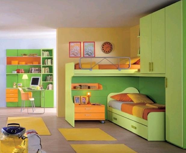 Verde e arancio per la cameretta dei piccoli
