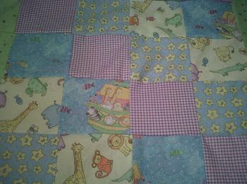 "Close up Noahs Ark Crib Size quilt"""