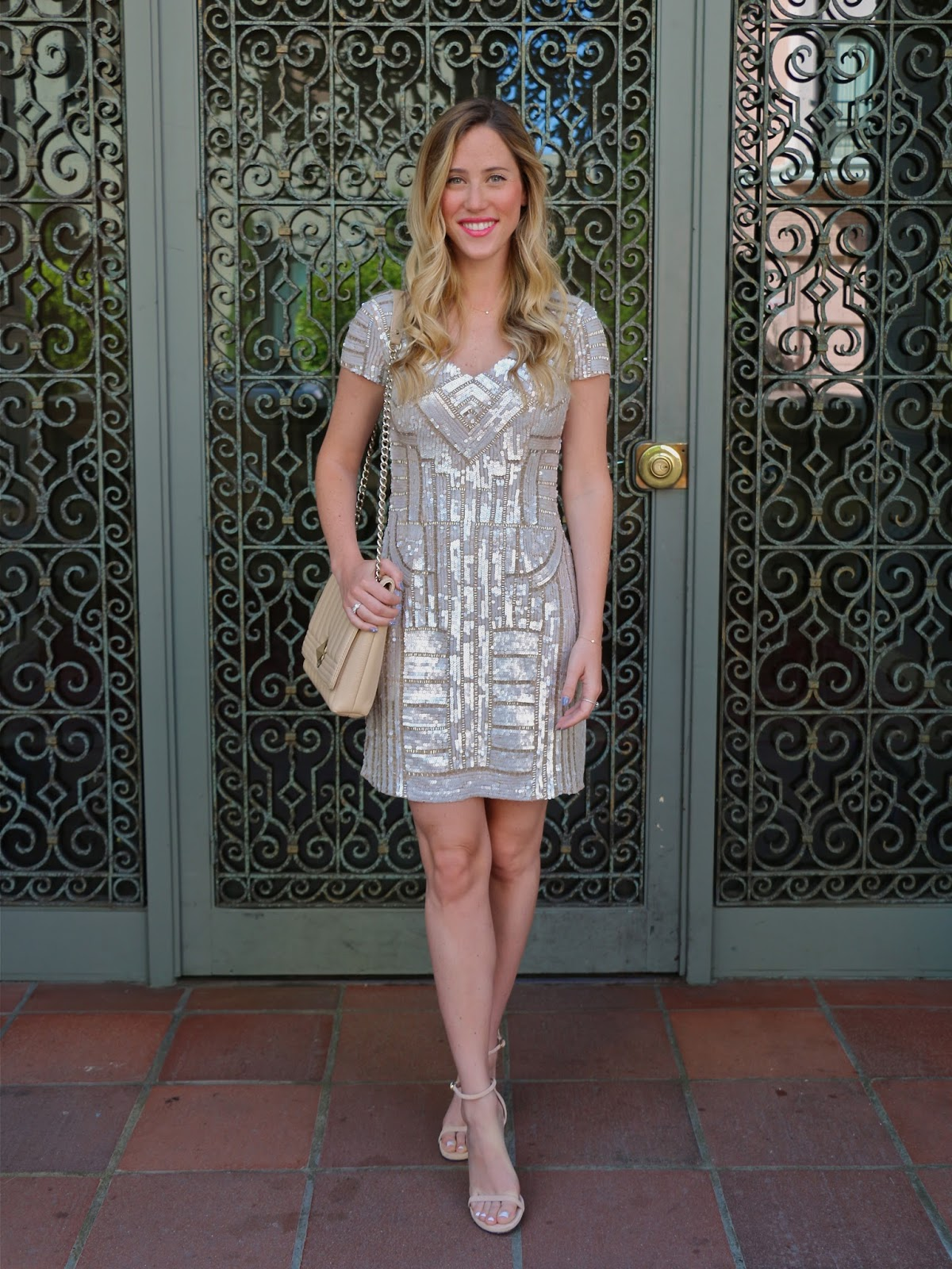 Pacific Avenue : White Sequin Rehearsal Dinner Dress