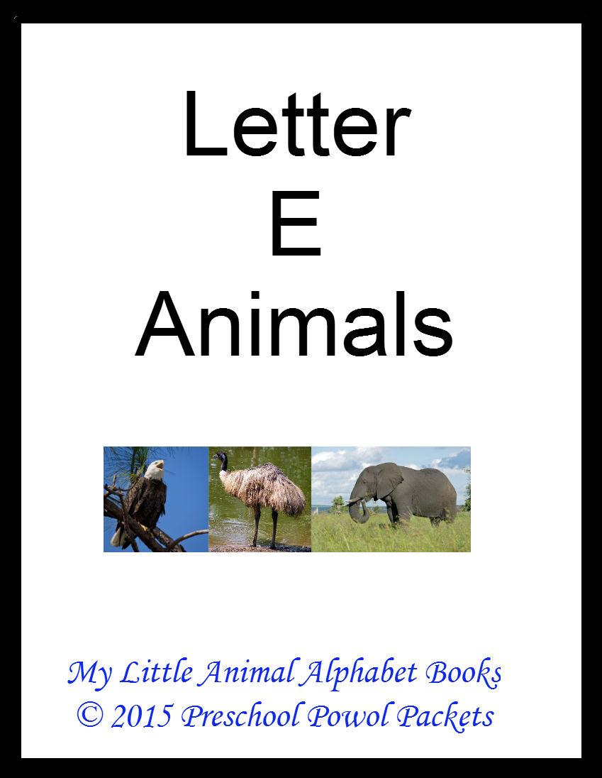 FREE} My Little Animals Alphabet Book Letter E | Preschool Powol
