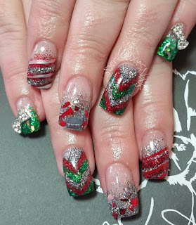 broken glass Christmas nails