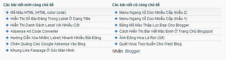 Bài viết liên quan cũ và mới cho blogspot
