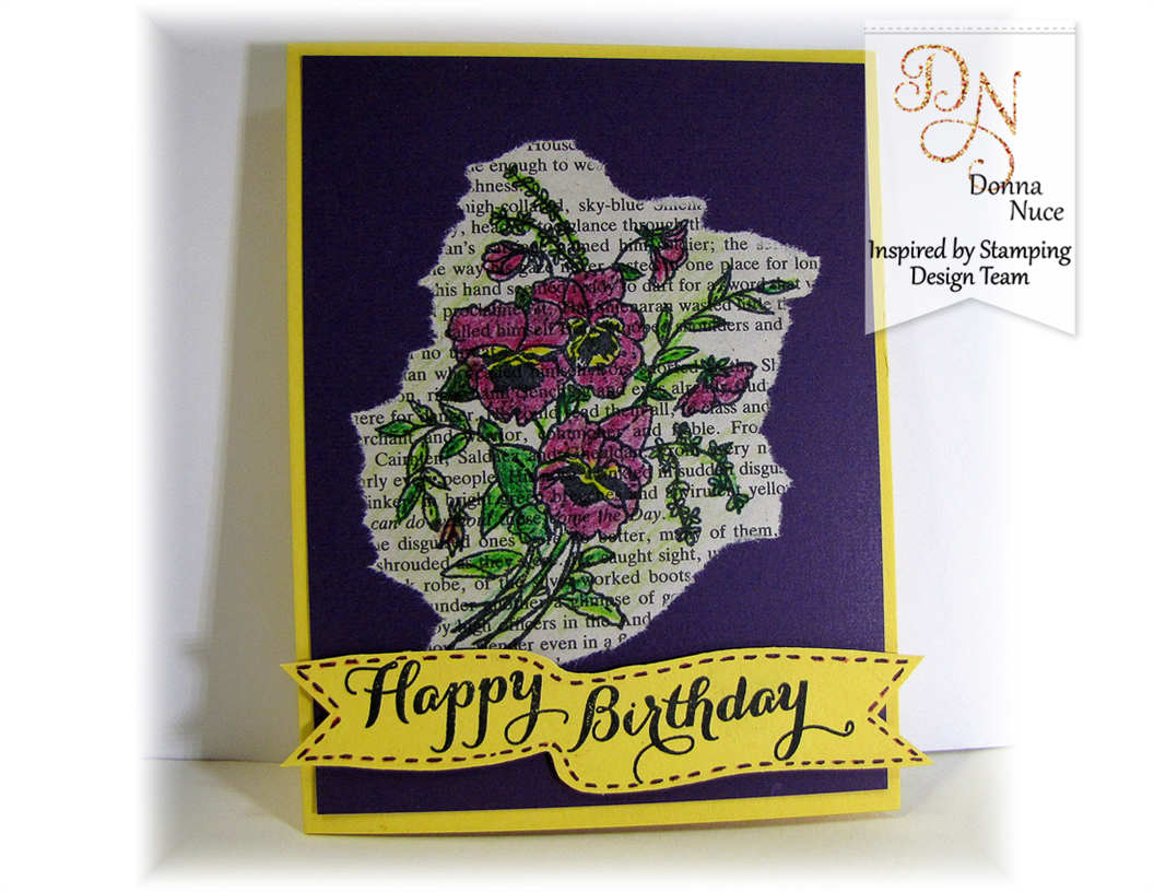 Inspired by Stampin, Crafty Colonel, Flower of the Month Pansy, Birthday Card