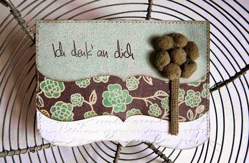 Bordürenkarte mit Pom Pom Blume von Mary-Jane für www.danipeuss.de