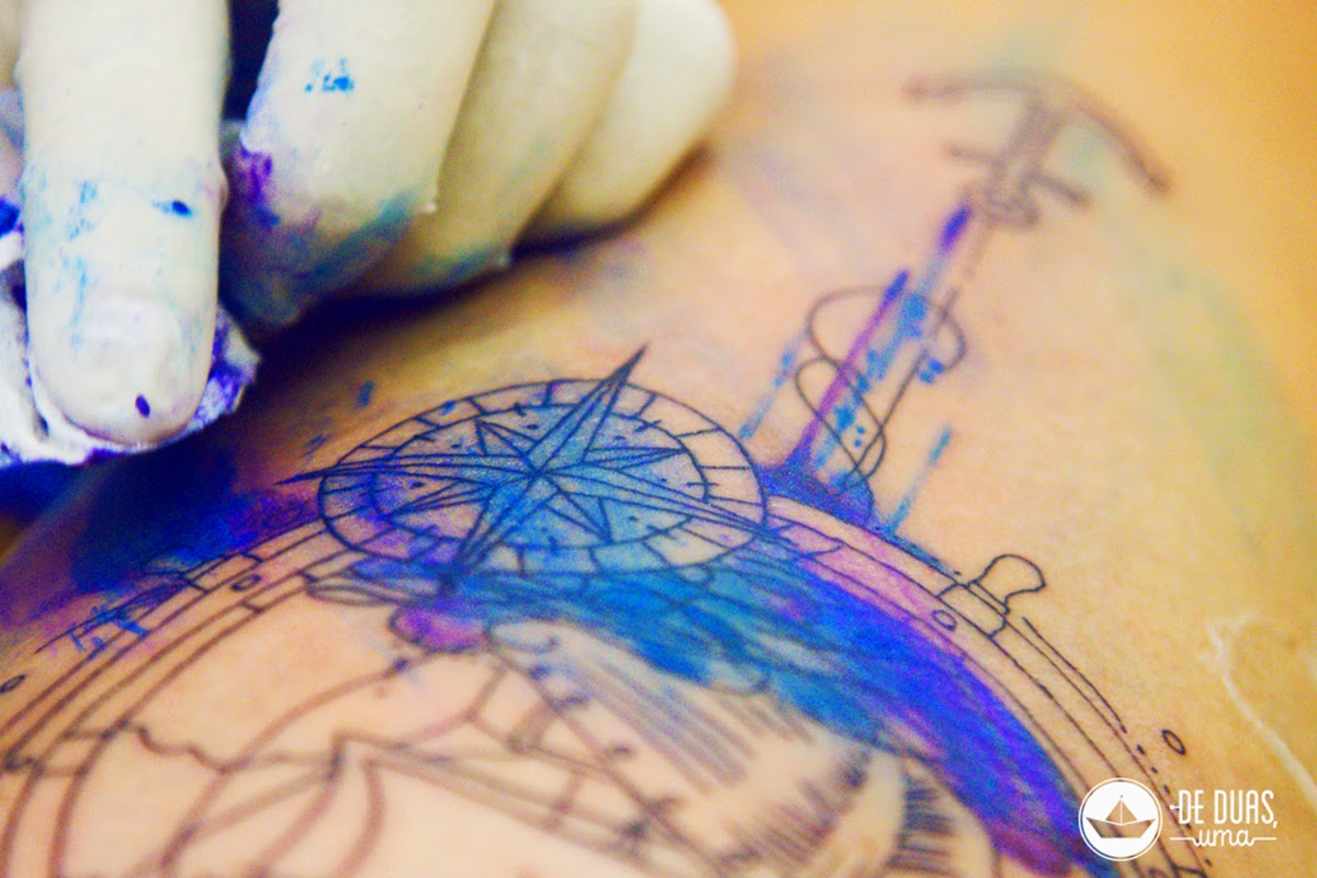 caravel tattoo watercolor design de duas uma