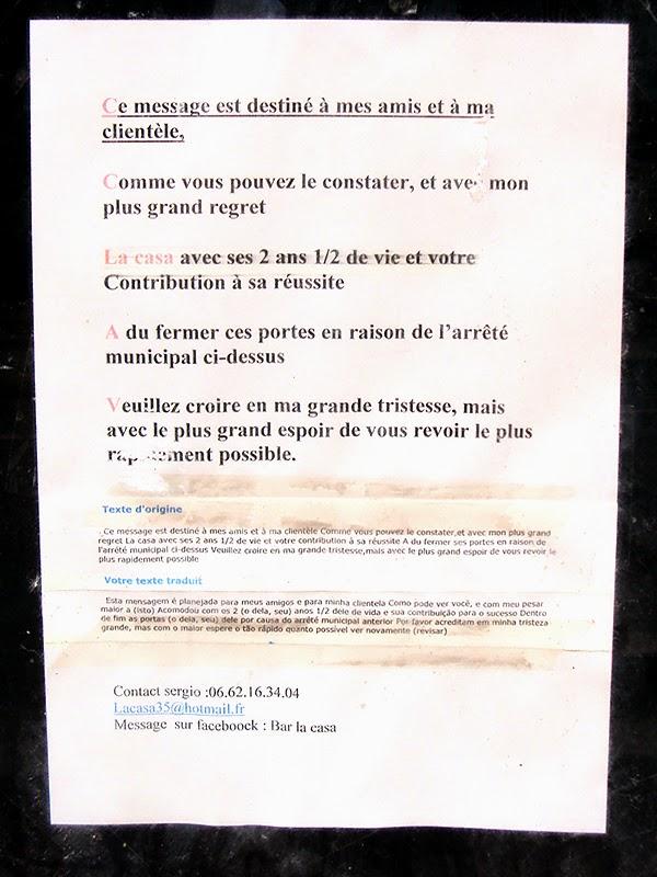 Le message d'au revoir du patron de la Casa de Rennes, rue du Capitaine Dreyfus