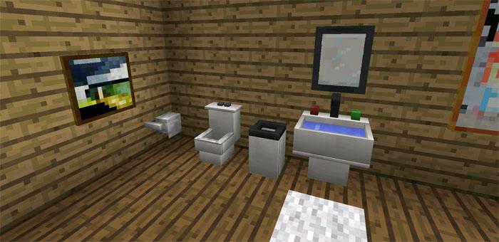 Mod  Mais Mobílias ~ Equipe Mcpe -> Como Fazer Banheiro Moderno No Minecraft