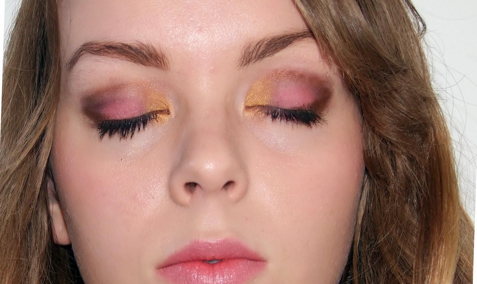 Brown and pink eye makeup