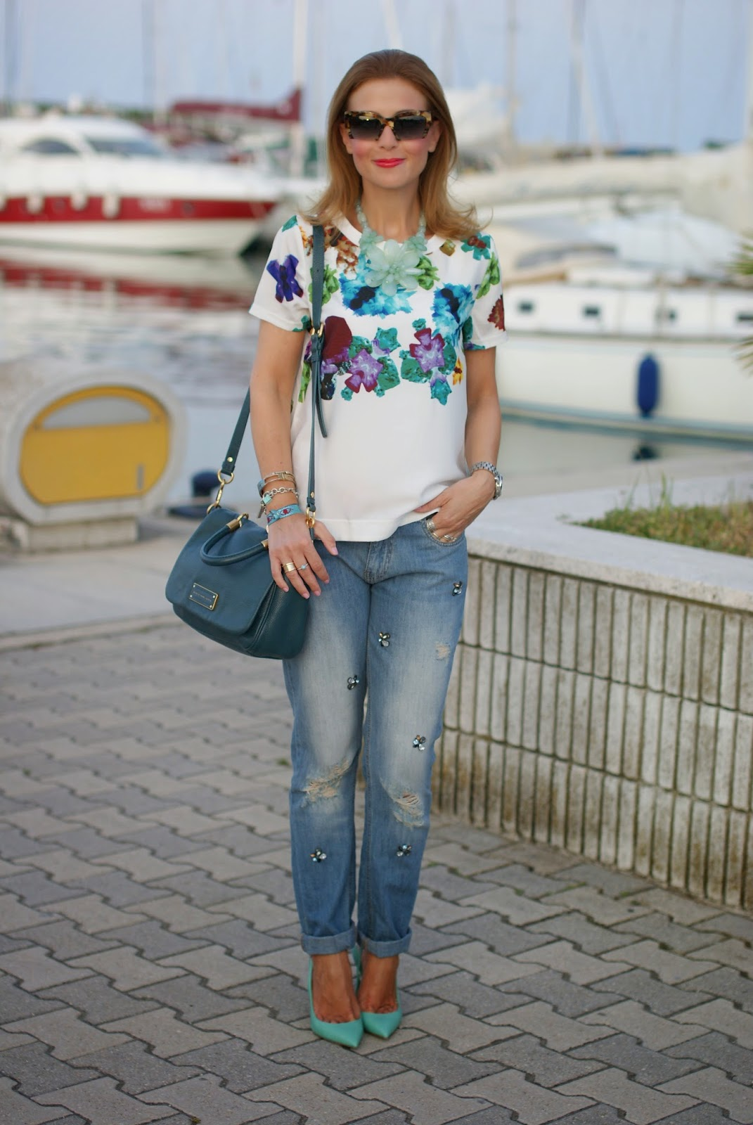 Blackfive white top, jeweled boyfriend jeans, tiffany heels, Fashion and Cookies, fashion blogger