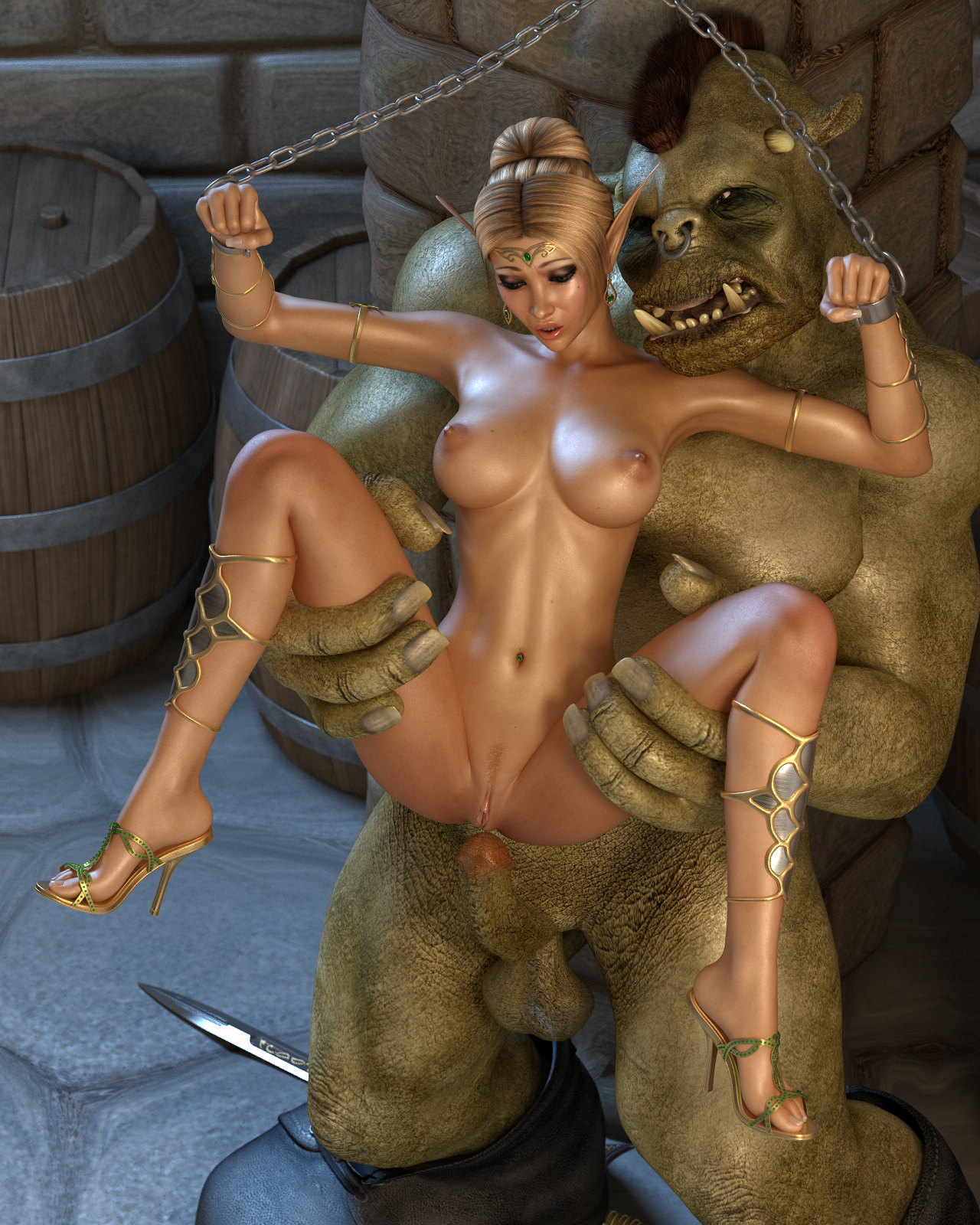 Three monsters abuse elf girl porn image