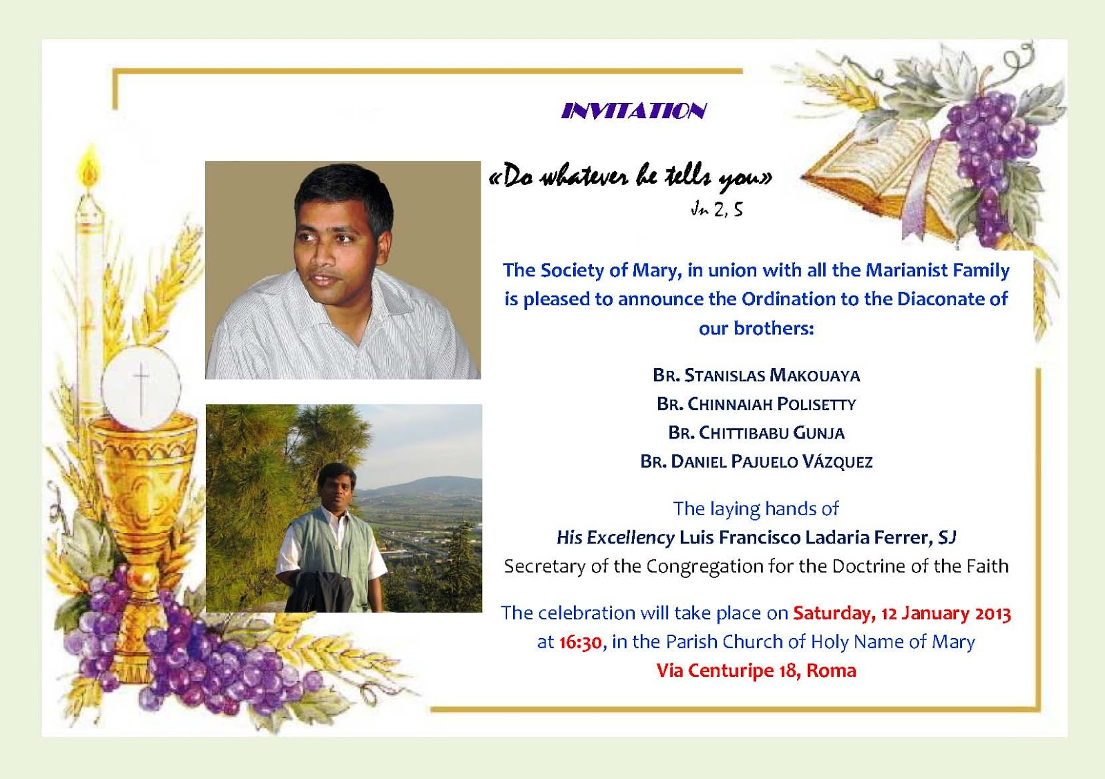 Telugu Sangham Rome Italy Invitation to Diaconate Ordination
