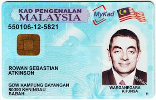 kad pengenalan untuk kereta sewa