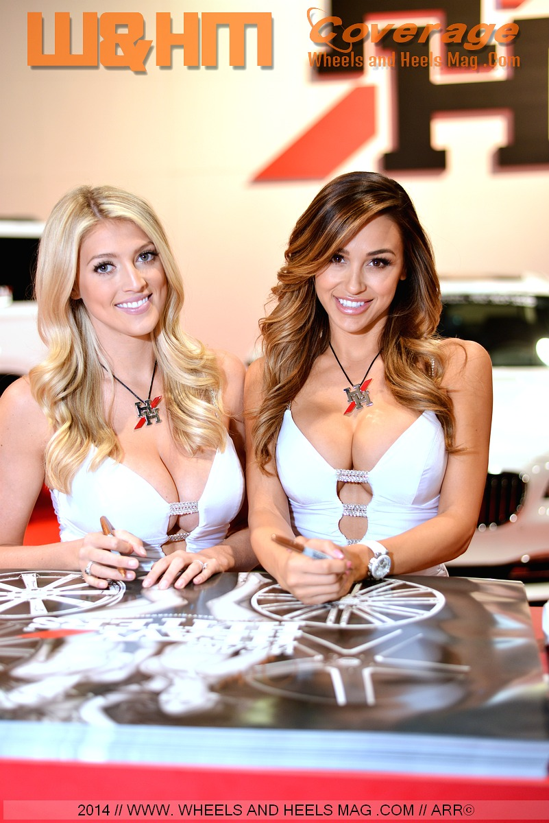 Sema models Bradi and Ana Cheri for 2Crave Wheels in sexy white dress at 2014 SEMA show