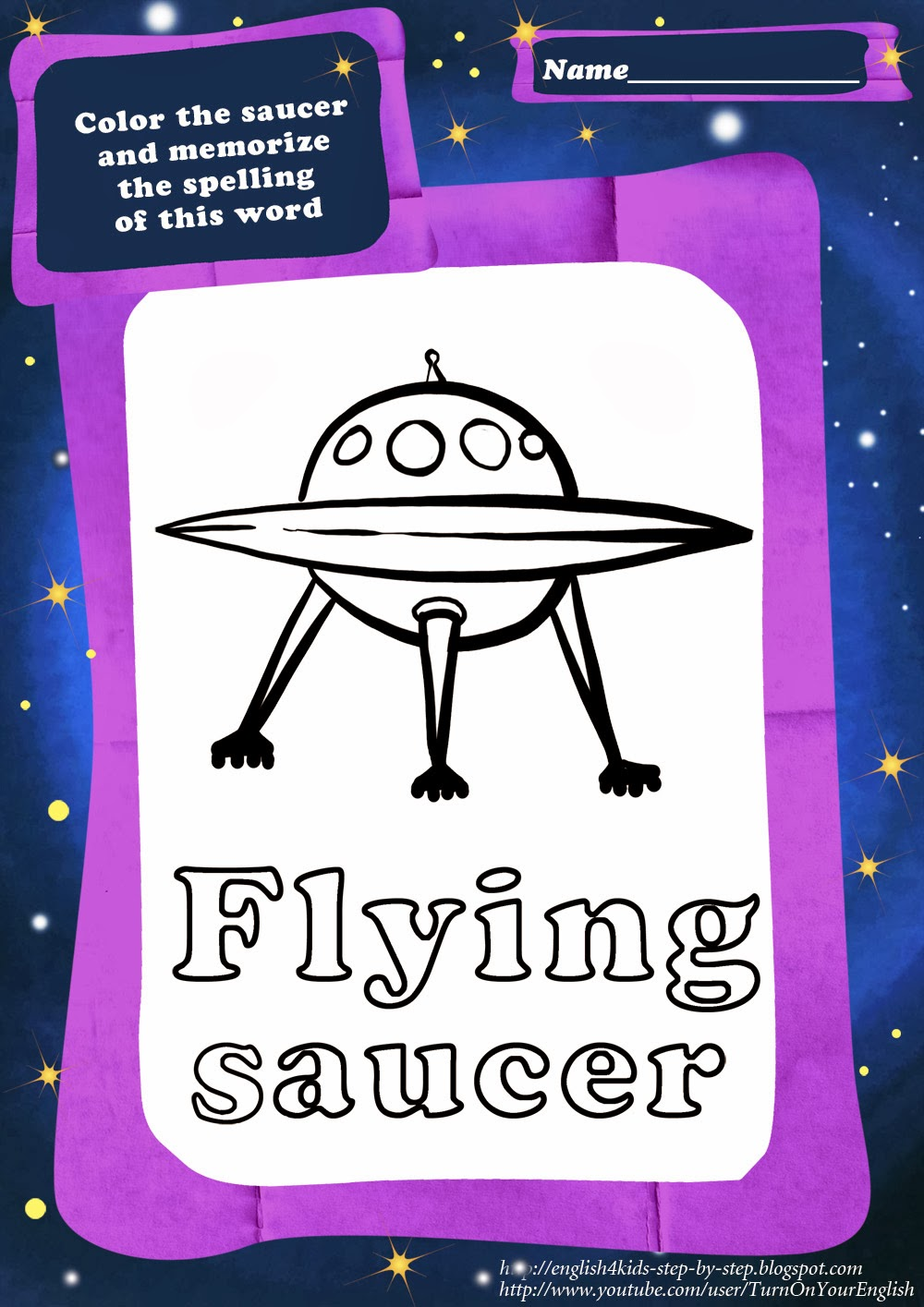 Two aliens song for children about cute aliens for Flying saucer coloring page
