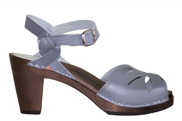 Swedish Hasbeen style clogs, wooden heels, slate blue leather, Maguba Heel, Barcelona Grey