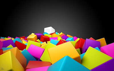 Abstract Wallpaper : 3D Colorful Squares