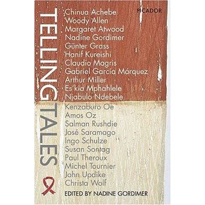 Book cover with a sort of wood-grain appearance, with the upper half appearing stained brown and the lower half appearing bleached. The title is printed vertically with a red AIDS awareness ribbon at the bottom left. The rest of the cover is a list of the names of the authors of the book, in alphabetical order.