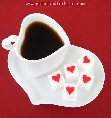 cafe - cubos de açúcar decorados com coração