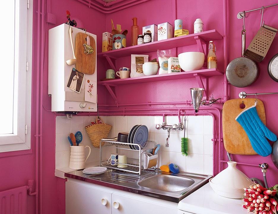 Küche in Pink - die neue Modefarbe in der Kücheneienrichtung! Erfrischend mit Weiß!