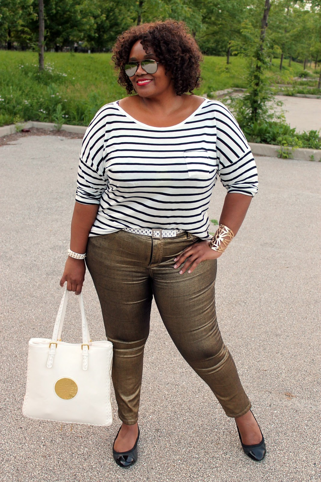 OOTD} My #Plussize Casual Style: Gold   Stripes | Curvatude ...