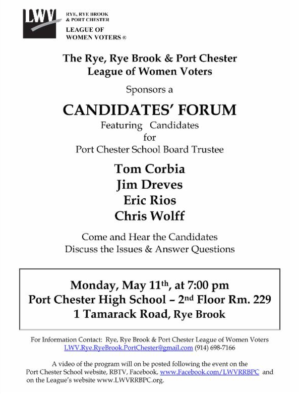 PORT CHESTER SCHOOL DISTRICT CANDIDATES FORUM