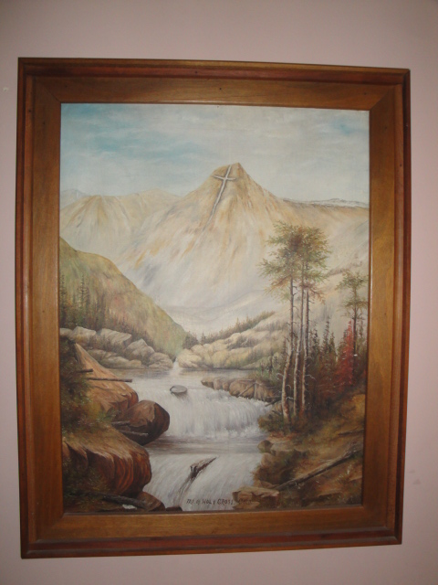 Antiquescove biz antique scenic mountain landscape oil for Cross paintings on canvas