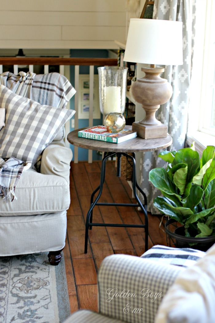 DIY industrial stool turned side table in neutral living room - www.goldenboysandme.com