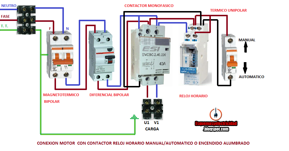 Conexion Motor Contactor Reloj Horario Manual Automatico O
