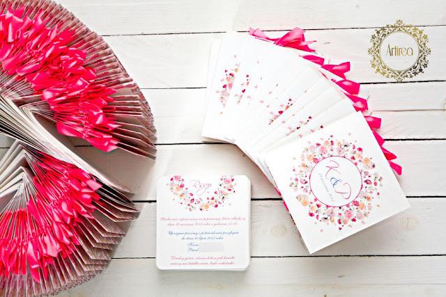 różowe zaproszenia ślubne Artirea