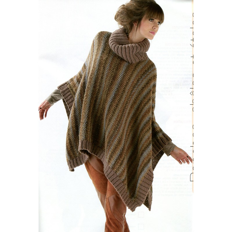 Knit Poncho Patterns : ENGLISH Turtleneck Poncho Knitting Pattern PDF CraftyLine e-pattern shop