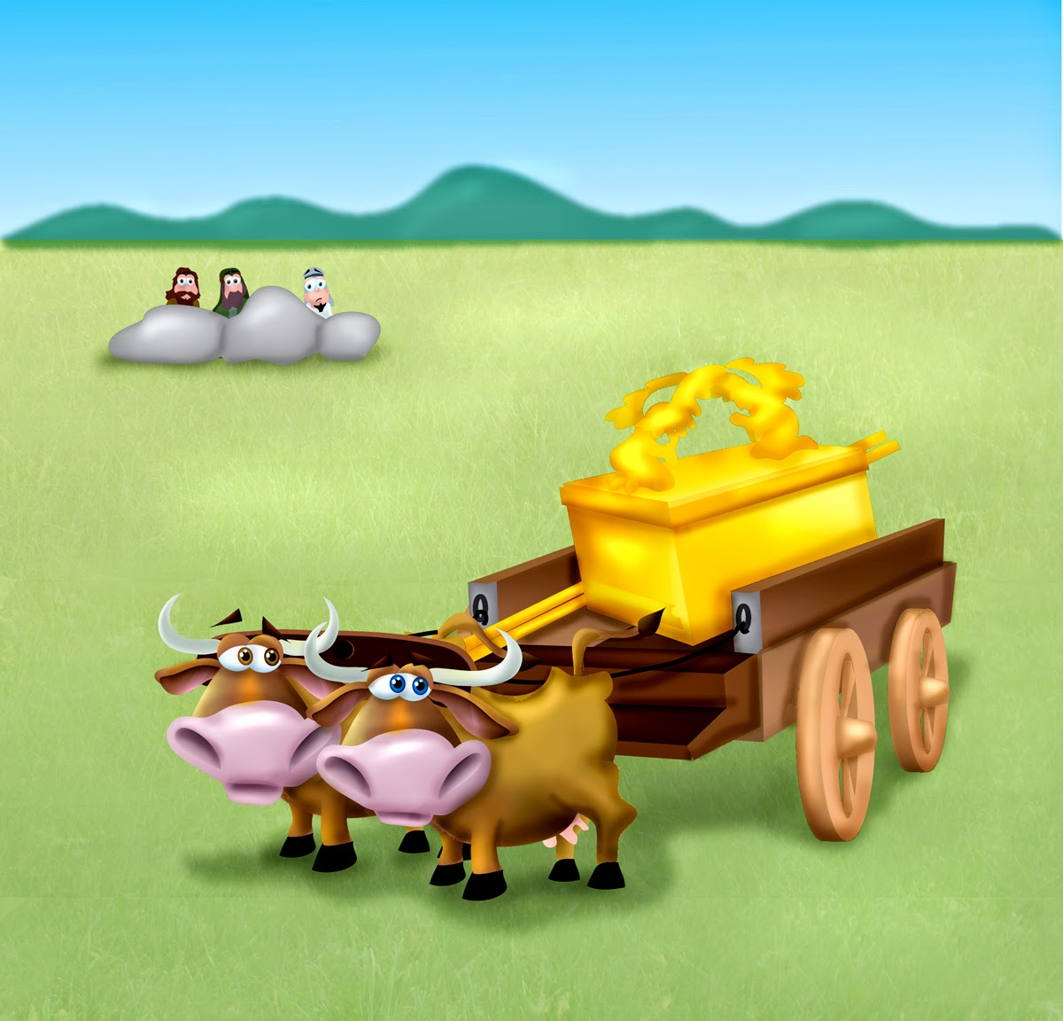 Coloring picture of the ark of covenant - When The Israelites Saw The Ark Of The Covenant Of The Lord Returning On A Cart Being Pulled By Two Cows They Were Overjoyed The Cows Stopped At A Large