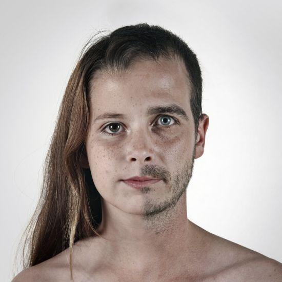 Ulric Collette fotografia surreal photoshop retratos genéticos família rostos misturados autorretratos Filha/pai - Ismaelle (10 anos) e Ulric (32 anos)