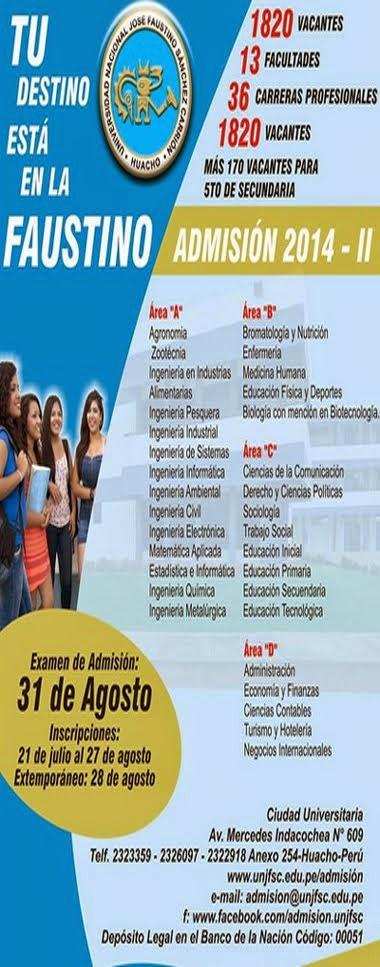 UNJFSC - HUACHO ADMISIÓN 2014 - II